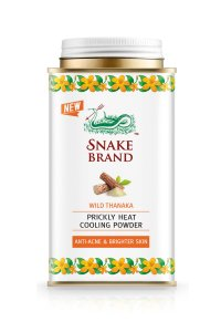 SNAKE BRAND PRICKLY HEAT COOLING POWDER WILD THANAKA ANTI - ACNE AND BRIGHTER SKIN HEALTH CARE PRODUCTS (Pack of 2)