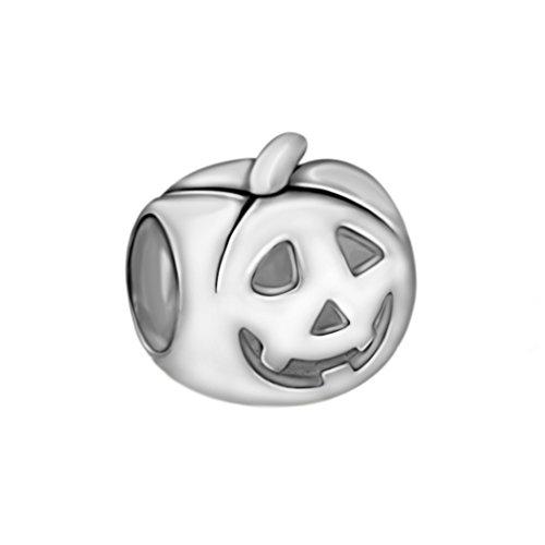 Quiges 925 Sterling Silber 3D Halloween Kürbis Gesicht Charm Bead