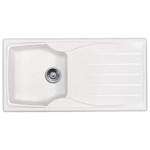 Astracast Sierra 1.0 Bowl Reversible Teflite Kitchen Sink in White + Waste