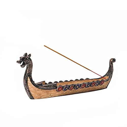 Dragon Boat Incense Stick Burner Resin Viking Ships Stick Incense Holder Hand Carved Carving Censer Ornaments Retro Ships Ornament Incense Burners Traditional Design Handicraft,Viking Gifts for Men