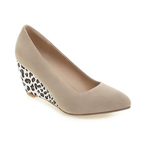Zapatos Gruesos para Mujer, Boca Suave y Poco Profunda, al Aire Libre, Primavera, otoño, sin Cordones, usable, para Caminar, Zapatos con patrón de cuña de Leopardo