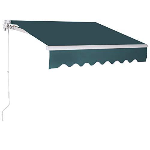 COSTWAY 3 x 2,5 m Gelenkarmmarkise Sonnenmarkise Balkonmarkise Terrassenmarkise Klemmmarkise mit UV- und wasserbeständigem Material, Aluminiumrahmen und -kurbel, für Balkon und Veranda (Grün)