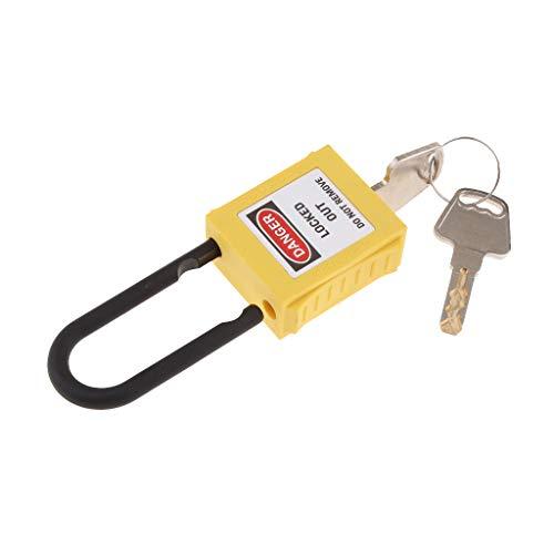 Homyl Alta Seguridad Candado Resistente con Alargado para Puerta Escuela Gimnasio Pool Locker Maletín Caja de Herramientas PL 38-KD 38mm PVC - Amarillo