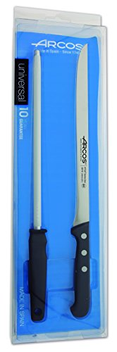 Arcos Serie Universal - Küchenmesser-Set Ham Küchenmesser-Set 2 Stück (1 Knife + 1 Wetzstahl) - Klinge Nitrum Edelstahl - HandGriff Polyoxymethilen (POM) Farbe Schwarz