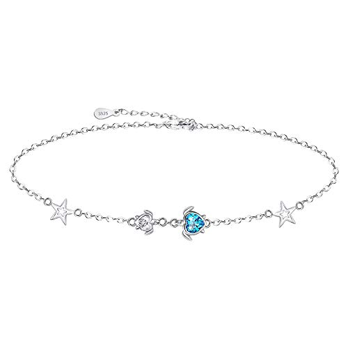 Star Bracelet for Women 925 Sterling Silver Mom and Baby Sea Turtle Adjustable Bracelet Anklet Jewelry Gifts for Women Girls