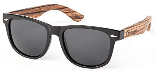 Bexxwell Sonnenbrille mit Echtholz-Bügeln, handgefertigt, UV-Schutz, polarisiert (Holz, Wood) (Schwarz/Schwarz und Holz hell)