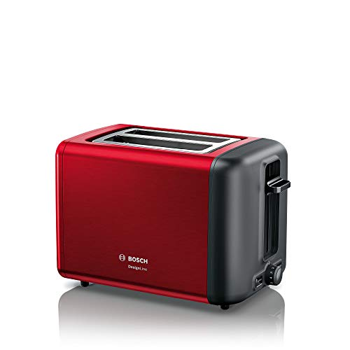 Bosch TAT3P424DE DesignLine Kompakt-Toaster, Auftau/Aufwärmfunktion, versenkbarer Brötchenaufsatz, Abschaltautomatik, 970 W, rot