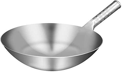 Nasole Wok Wok Hecho a Mano Acero Inoxidable Grosor de Wok, Pan Tradicional Cocinar Wok 1.8 mm (Size : 32Cm)