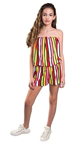 Cheryl Creations Kids Strapless Rainbow Stripe Romper (Medium 10/12)