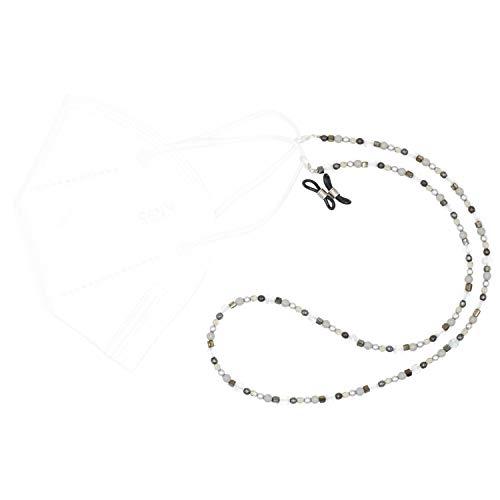 Feliss Collar para máscara de mujer con lazo para gafas de cristal, color negro y gris, 65 cm, regalo de cumpleaños, soporte para máscara para boca y máscara