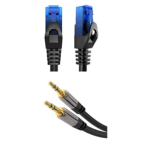 KabelDirekt Bundle, 0.25 m, Cable de red, Ethernet, cable LAN y Patch y cable auxiliar de 5 m y cable jack de 3.5 mm (cable de audio estéreo, negro)