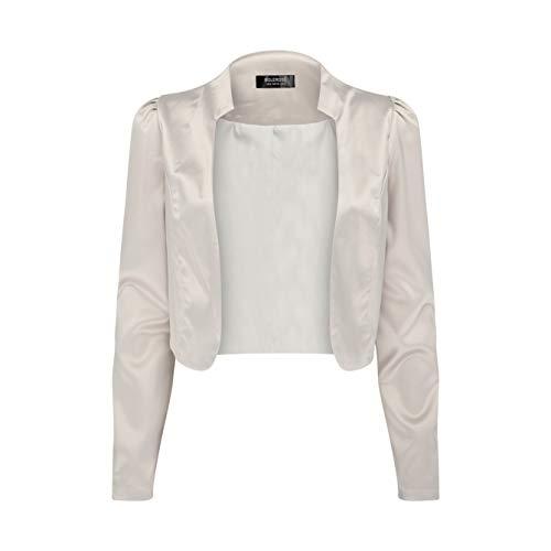 Bolerose Formal Long Sleeve Satin Bolero Shrug Occasion Jacket (Silver, US 4)