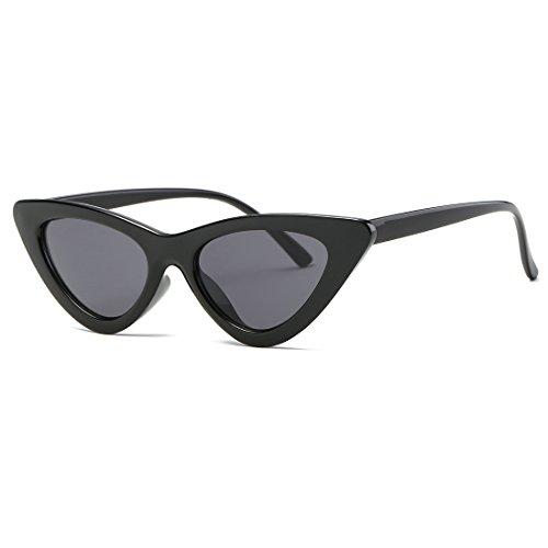 kimorn Ojos De Gato Gafas De Sol Para Mujer Clout Goggles Bisagras De Metal Plástico Marco K0566 (Negro)