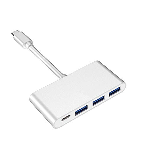 Adaptador Multipuerto USB C a USB3.0, Concentrador USB tipo C, 4 Puertos, USB-C PD 60W + 3 Adaptador de Transmisión USB 3.0 de Alta Velocidad para MacBook Pro, iMac (plata)