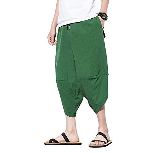 Pantalones de algodón para Hombre Pantalones Anchos de Pierna Ancha de Yoga de Playa Holgados y Ligeros Pantalones de Hip Hop M-5XL,Verde,XL
