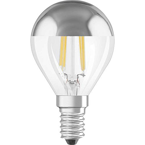 Osram LED Star Classic A Mirror Kopfspiegellampe, in Kolbenform mit E14-Sockel, nicht dimmbar, Ersetzt 34 Watt, Filamentstil, Warmweiß - 2700 Kelvin, 1er-Pack