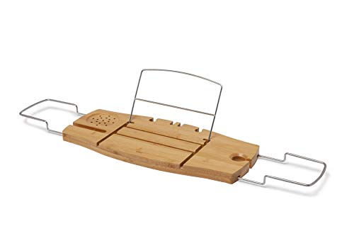 Umbra Aquala Bamboo and Chrome Extendable Bathtub Tray Caddy, 71.1 x 21.6 x 3.8 cm, Natural