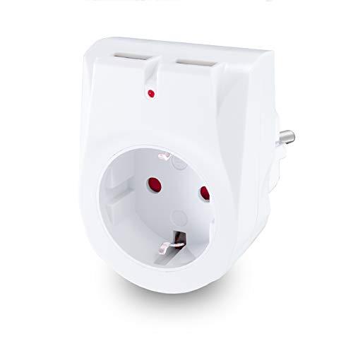 benon Steckdosen-Adapter - Weiß mit 2X USB - 2in1 Mehrfachstecker - Doppelstecker mit Überlastschutz und Kindersicherung - 2.4A USB (5V) - Multistecker max. 3680W