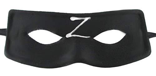 KIRALOVE Maschera per Costume Zorro Halloween - Uomo Ragazzo - Zeta - spadaccino - Travestimento - Adulti - Cavaliere mascherato - z - Carnevale Colore Nero-