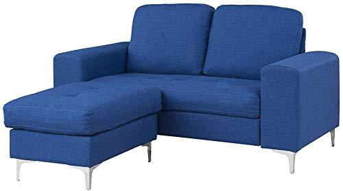 YRRA Sofá de 2 plazas/sofá Cama de 3 plazas Sofá con Forma de Tela con Tela de Tela de Tela sofá Sofá Sofá Sofá Sofá Sofá Sofá SetEse (Azul 2 plazas con escabel)-Azul_2 plazas con reposapiés