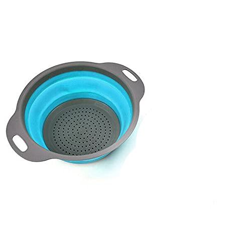 Colador plegable de silicona para cocina o orden, color azul