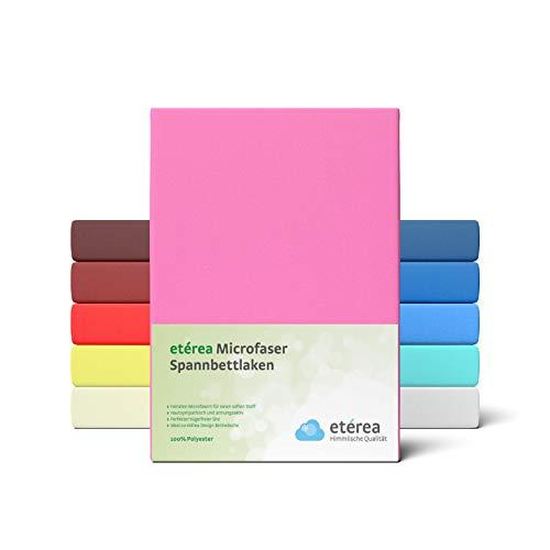 #4 Etérea Classic Microfaser Interlock Kinder-Spannbettlaken, Spannbetttuch, Bettlaken, 60x120 - 70x140 cm, Rosa