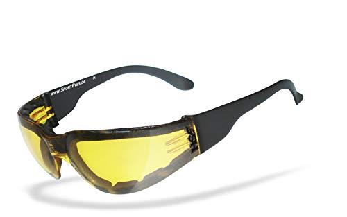 HSE SportEyes® | beschlagfrei, Winddicht, nachtsicht HLT® Kunststoff-Sicherheitsglas nach DIN EN 166 | Sportbrille, Radbrille, Sonnenbrille, Nachtbrille