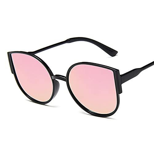 QWKLNRA Gafas De Sol para Hombre Marco Negro Lente Rosa Gafas De Sol Deportivas Polarizadas contra-UV Gafas De Sol Clásicas De Ojo De Gato Moda De Lujo Lente De Espejo Vintage Gafas De Sol Oculos U