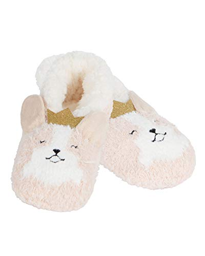 MeMoi Corgi Critter Plush Lined Slippers | Socks Tan MZV05558 M/L