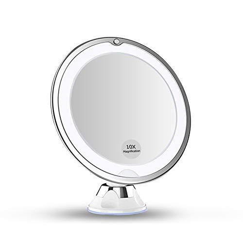 SNUNGPHIR Kosmetikspiegel LED Beleuchtet mit 10x Vergrößerung Schminkspiegel 360° Schwenkbar mit Integriertem Saugnapf Rasierspiegel Wandspiegel Badspiegel Makeup Kosmetikspiegel Batteriebetrieben