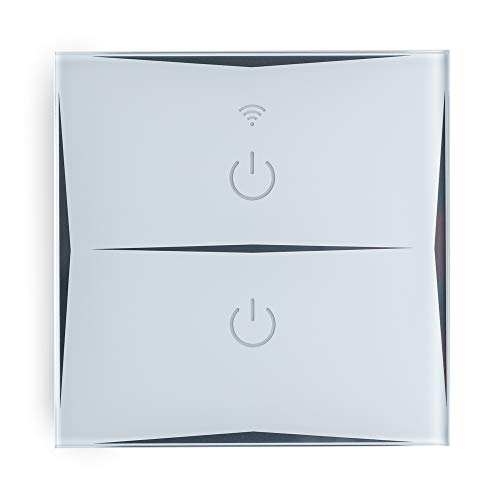 Greenice   Interruptor Inteligente Táctil Cristal 2 Vía 1200W Compatible Google Home/Alexa [HIT-KS-601-2]