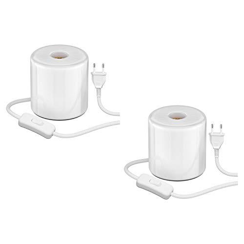 ledscom.de Tischleuchte TIPO mit E27 Lampen-Fassung Porzellan rund weiß, 2 Stk.