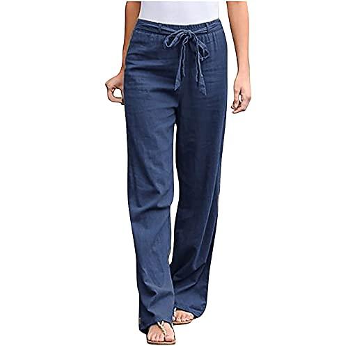 Pantalones de pierna ancha para mujer, casual, verano, cintura elástica, capris, casual, de algodón, lino, pantalones de meter, C02#blue, XXL