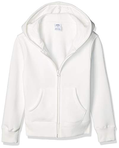 Amazon Essentials Fleece Zip-up Hoodie, fashion-hoodies Niñas, Blanco, L (Talla fabricante: 10 Jahre)