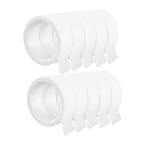 SDENSHI 10 Rouleaux Ruban de Cils Papier Blanc Tissu Ruban de Cils pour l'Approvisionnement d'Extension de Cils