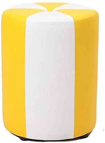 Woonkamer stoel Waterdicht PU materiaal Ronde Kruk Thuis klein bankje Creative Leather Kruk Sofa Kruk Low Stool Stevige Houten Pier for Living Room, Kledingwinkel (Kleur: Bruin) (Color : Yellow)