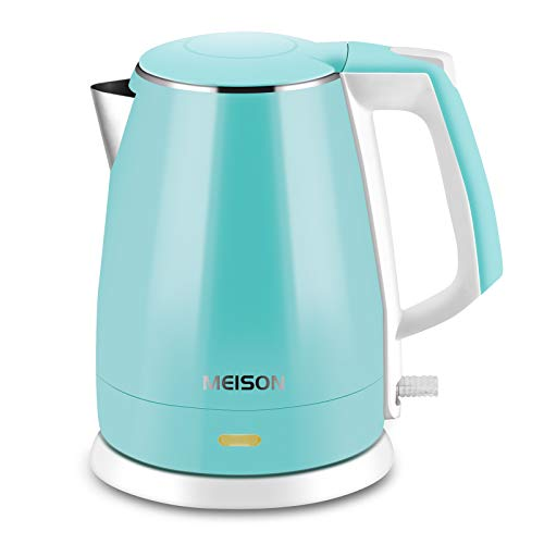 MEISON Electric Kettles Stainless Steel Interior, Double Wall Hot Water Boiler Heater, Cool Touch Electric Teapot Heater Kettle, Auto Shut-Off and Boil-Dry Protection, Cordless, 1.5L, 2 Year Warranty