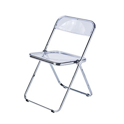 Folding chair Sillón Plegable, Silla Acrílica para Exteriores, Taburete Cómodo con Respaldo, Color Transparente, Apto para Balcón, Restaurante