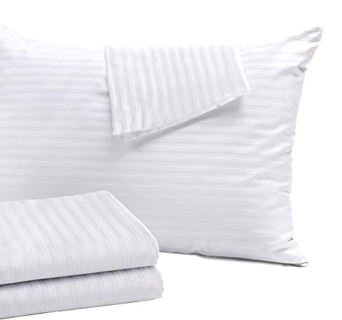 4Pack Pillow Protectors Standard 20x26 Inches Cotton Sateen Tight Weave ❤️ Life Time Replacement❤️ High Thread Count 400 Style Zippered White Hotel Quality Non Noisy