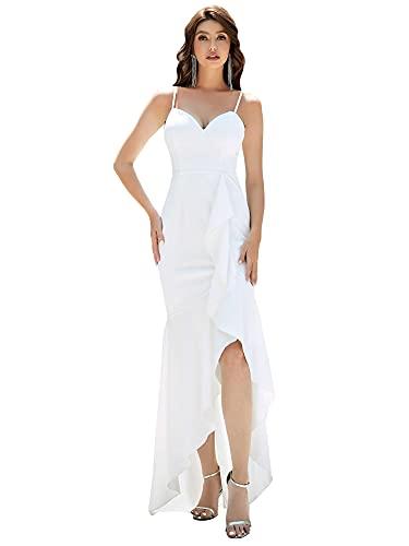 Ever-Pretty Asimétrico Vestido de Novia Largo para Mujer Escote Corazón Sirena Abertura con Volantes Blanco 36