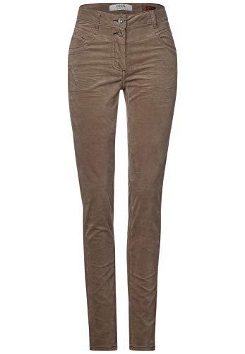 Cecil Damen 373533 Style Vicky Fit Slim Legs Velvet Hose, Misty Mocca Brown, W32/L34