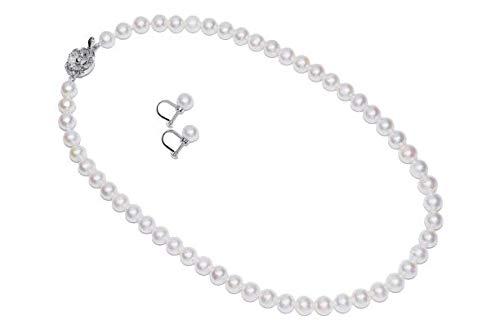 【湖水真珠】 本真珠ネックレス&イヤリング 2点セット 約7.5−8.0mm珠 ホワイトカラー