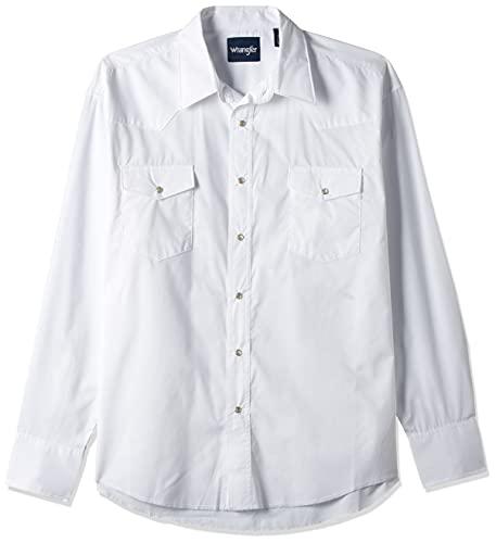 Wrangler Men s Sport Western Basic Two Pocket Long Sleeve Snap Shirt  White  Large