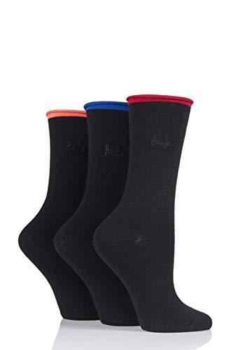 Pringle Damen 3 Paar Rebecca Kontrast Roll Top Socken (Schwarz/Blau, 36-41)