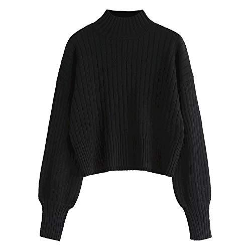 ZAFUL Damen Rollkragenpullover Langarm Gestrickter Sweater Pulli Lose Bluse Pullover für Herbst und Winter (Schwarz)