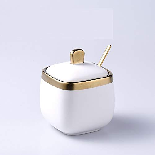 YIJIAN Ceramica Zucchero Ciotola,Sale Shaker,Stagionatura Vaso,Domestico Stagionatura Vaso Set (2 Pezzi Impostato) il Regalo Perfetto/Weiß/Set di 2