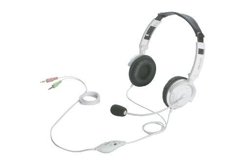 iBUFFALO 両耳ヘッドバンド式ヘッドセット 半密閉/ノイズキャンセリングマイク搭載 ホワイト BSHSH12WH