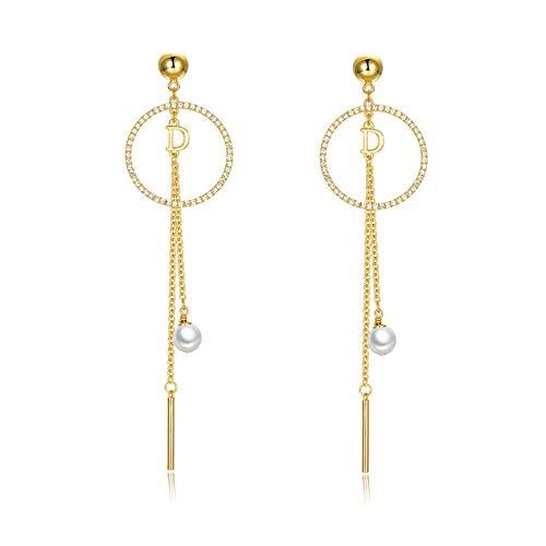 Nueva joyería de moda Pendientes de letras Círculo Borla de diamantes de imitación completa Pendientes largos con colgante de perlas Lady-Gold