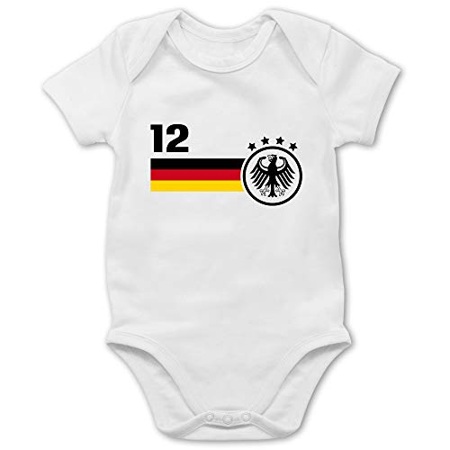 Shirtracer Fussball EM 2021 Fanartikel Baby - 12. Mann Deutschland Mannschaft EM - 6/12 Monate - Weiß - em Trikot 2021 Deutschland Herren - BZ10 - Baby Body Kurzarm für Jungen und Mädchen