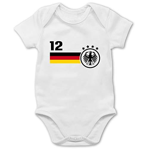 Shirtracer Fußball-Europameisterschaft 2021 - Baby - 12. Mann Deutschland Mannschaft WM - 3/6 Monate - Weiß - Kleidung fußball 2018 - BZ10 - Baby Body Kurzarm für Jungen und Mädchen